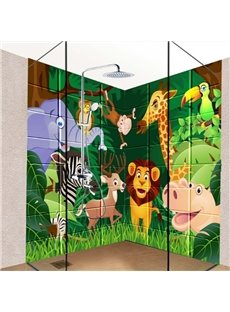 Cute Cartoon Animal in the Forest Pattern Waterproof 3D Bathroom Wall Murals