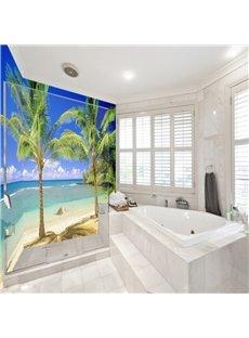 Leisurely Blue Sky and Seaside Scenery Pattern Waterproof 3D Bathroom Wall Murals