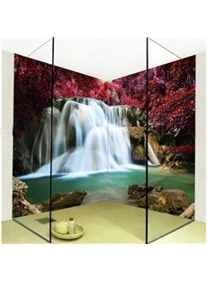 Realistic Intermountain Maple Leaves and Waterfalls Waterproof 3D Bathroom Wall Murals