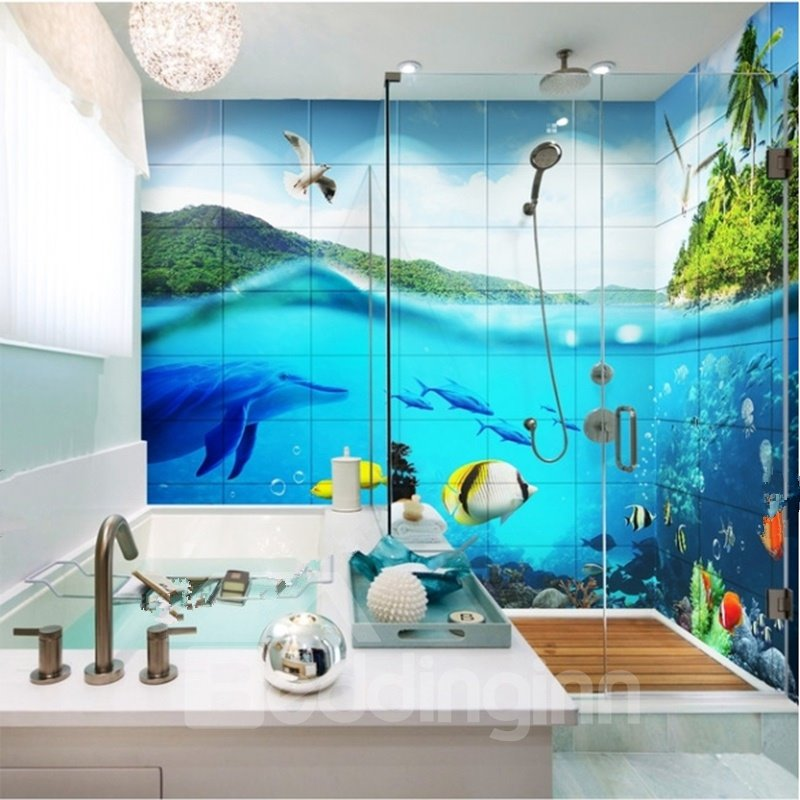 Vivid Blue Fishes and Dolphins in the Sea Pattern Waterproof Splicing 3D Bathroom Wall Murals