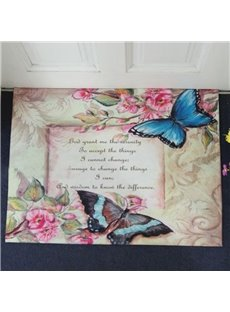 Country Style Beautiful Butterflies Print Non-slip Decorative Doormat