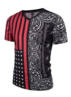 Cool V Neck Flag and Streak Pattern 3D Painted T-Shirt