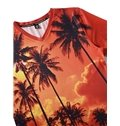 Beautiful V Neck Coconut Trees Pattern 3D Painted T-Shirt