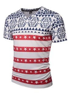Popular V Neck Stripe and Stars Pattern 3D Painted T-Shirt