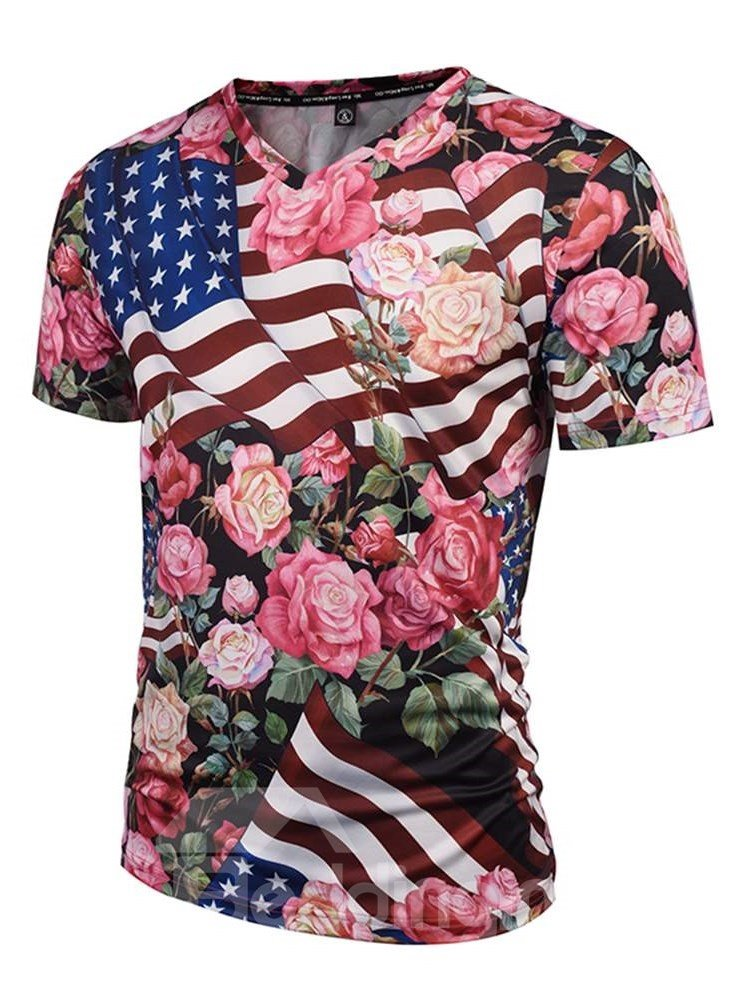 Bright V Neck American Flag and Floral Pattern 3D Painted T-Shirt