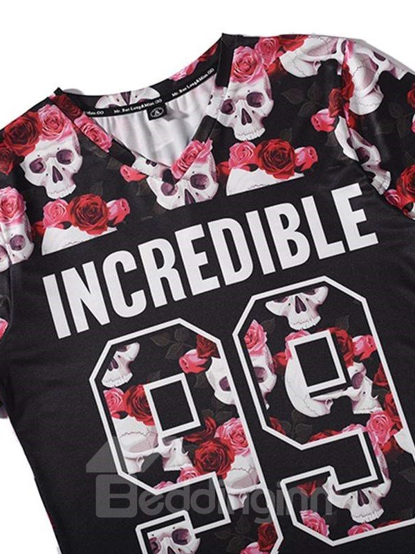 Pretty V Neck Skull and Floral Pattern 3D Painted T-Shirt