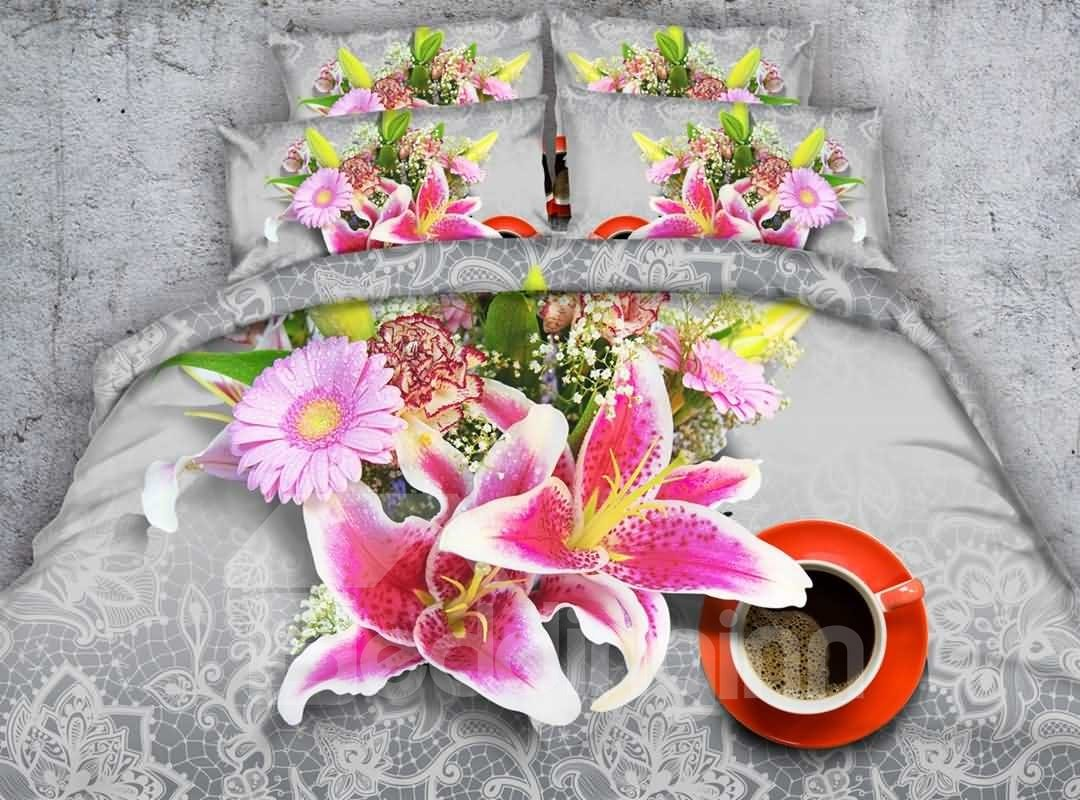 Charming Pink Lilies and Coffee Cup Print 4-Piece Duvet Cover Sets