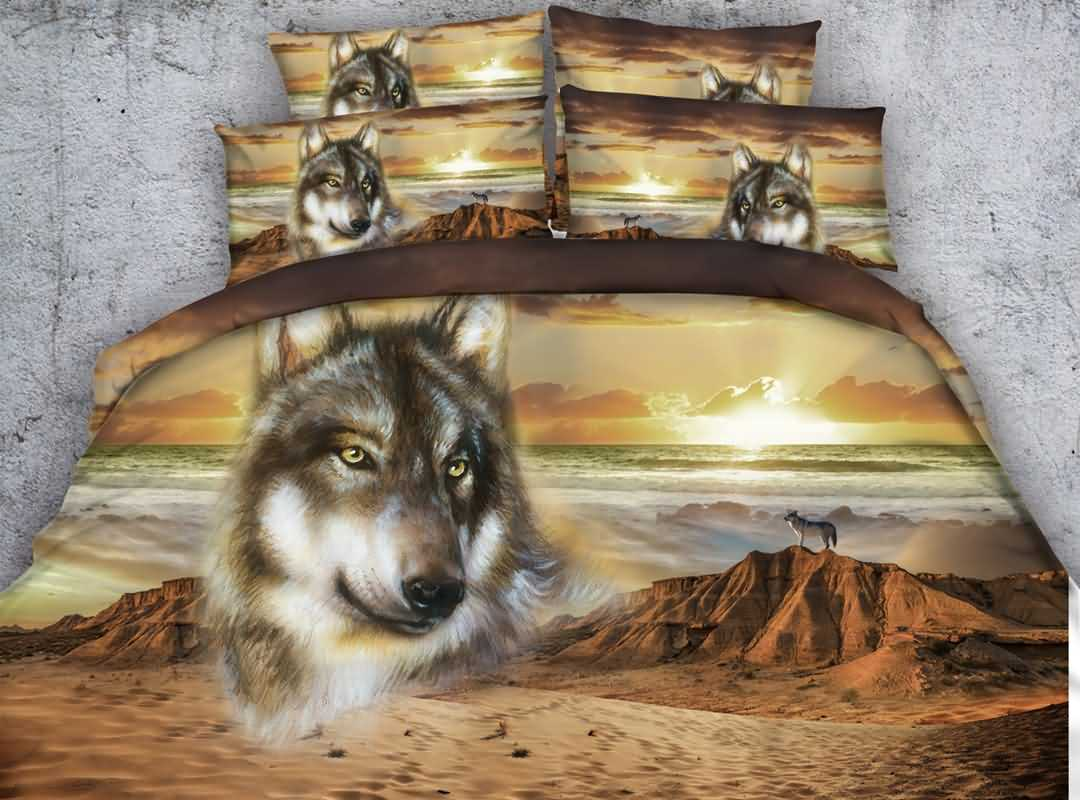3d Wolf And Mountain Printed Cotton 4 Piece Bedding Sets