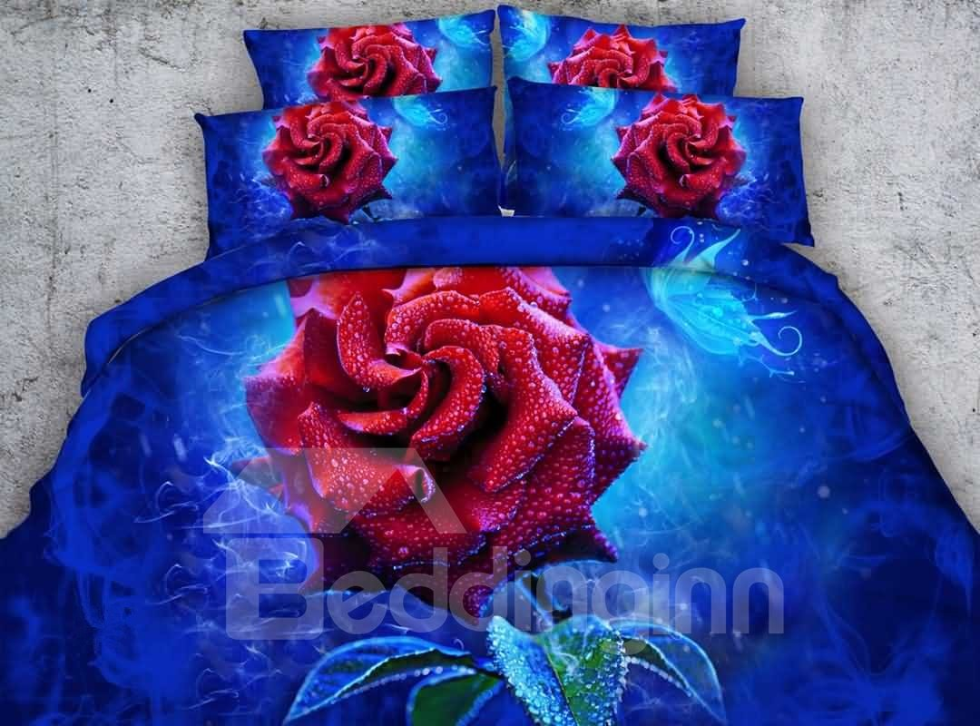 Dewy 3D Red Rose Printed 5-Piece Comforter Sets