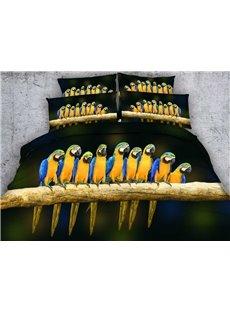Vivid 3D Parrots Print 5-Piece Comforter Sets