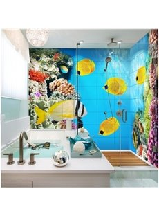 Stunning Coral Fishes in the Sea Waterproof 3D Bathroom Wall Murals