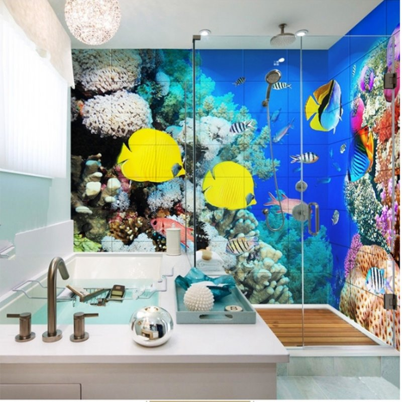Amazing Beautiful Fishes in the Coral Pattern Waterproof 3D Bathroom Wall Murals