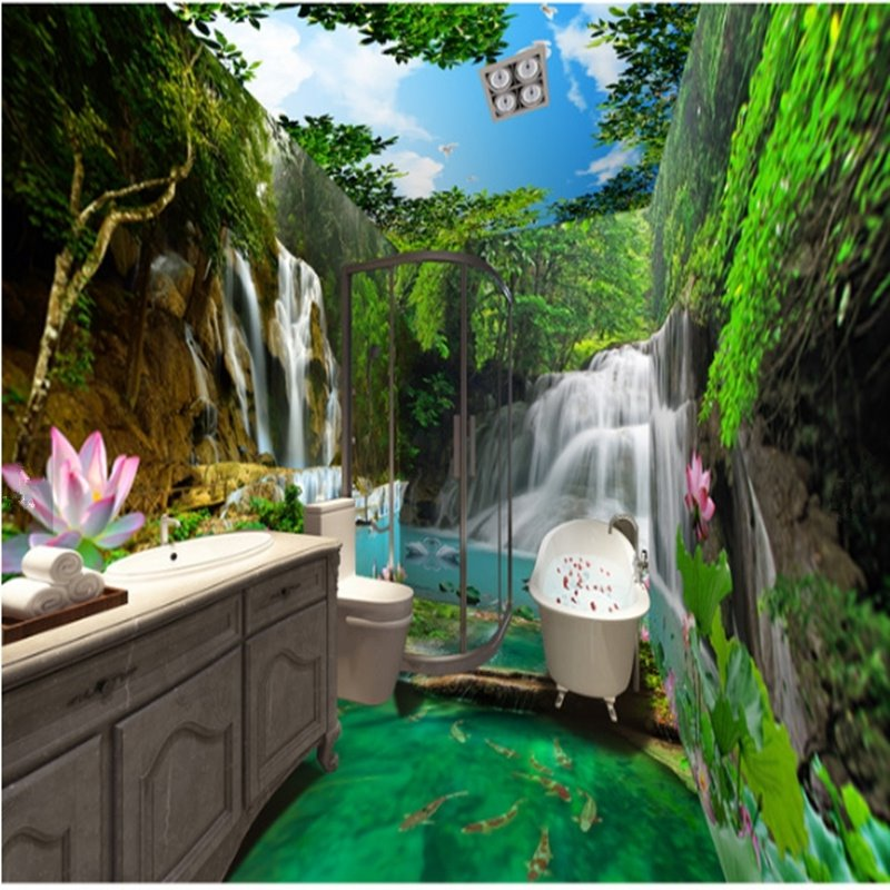 Vivid Waterfalls in the Lush Forest Scenery Pattern Waterproof 3D Bathroom Wall Murals