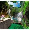 Vivid Waterfalls in the Lush Forest Scenery Pattern Waterproof 3D Bathroom Wall Murals