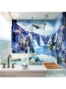 Natural Waterfalls and Eagles Pattern Waterproof 3D Bathroom Wall Murals