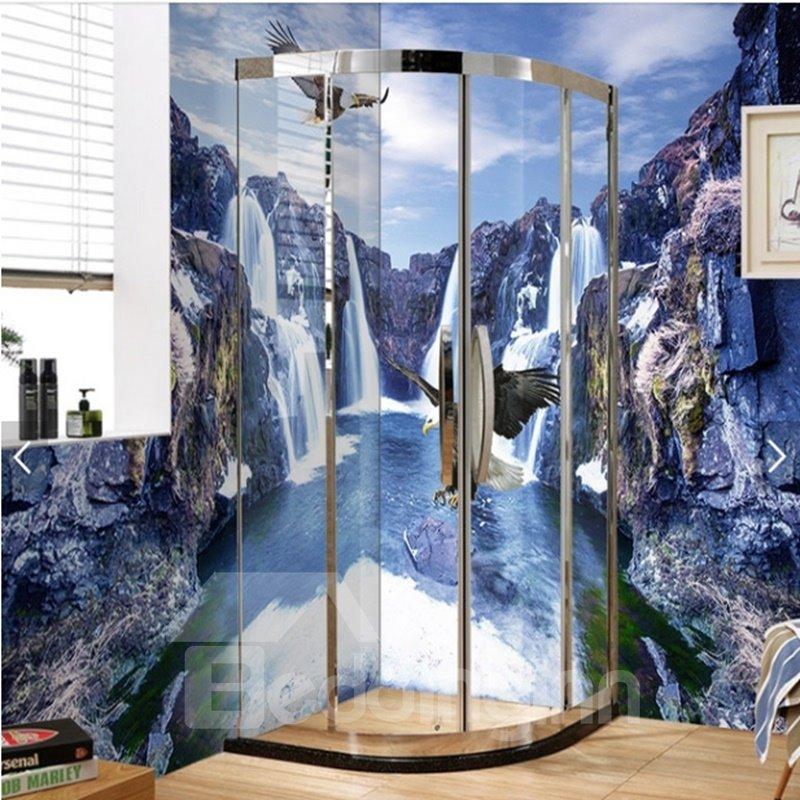 Natural Waterfalls and Eagles Pattern Waterproof 3D Bathroom Wall Murals