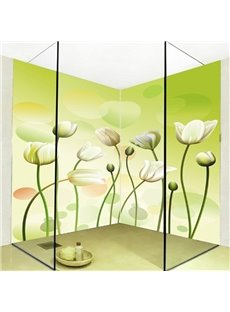 Green Simple Style Flowers Pattern Waterproof 3D Bathroom Wall Murals