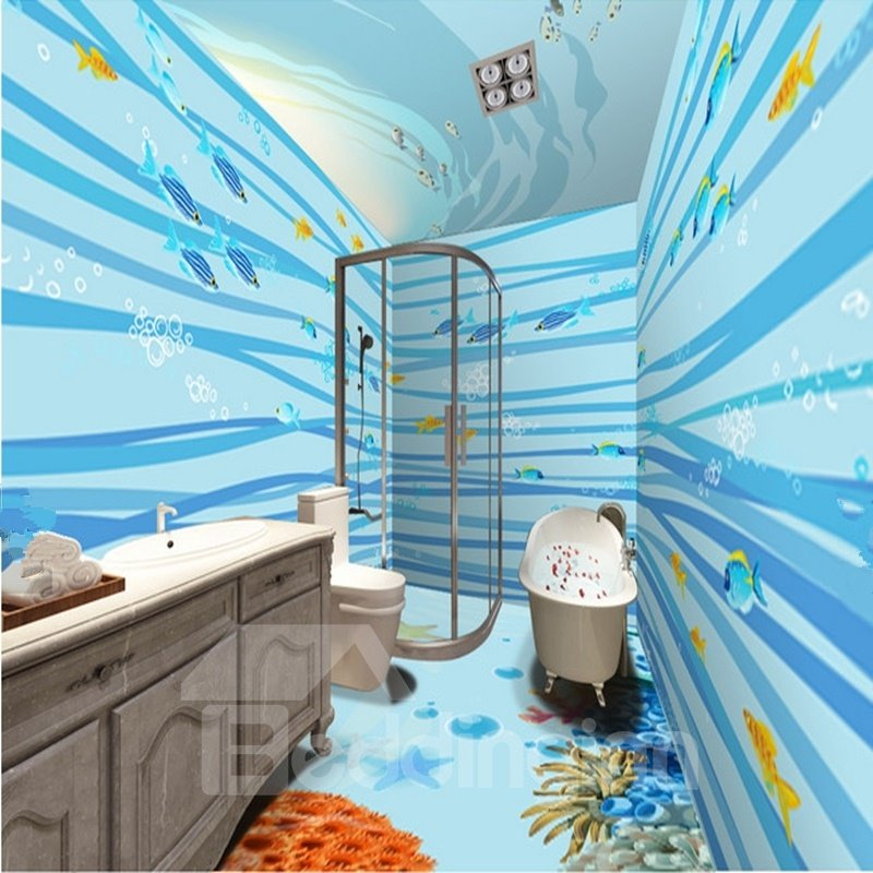 Blue Fishes Pattern Home Decoration Waterproof 3D Bathroom Wall Murals