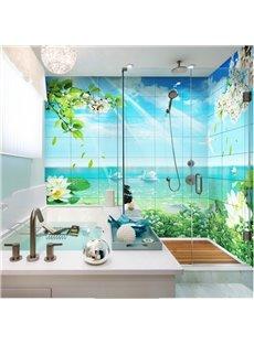 Fresh Modern Design Swans in the Lake Pattern Waterproof 3D Bathroom Wall Murals