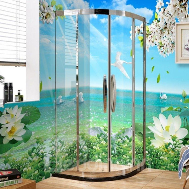 3D Swans in Green Lake Pattern PVC Waterproof Sturdy Self-Adhesive Bathroom Wall Murals