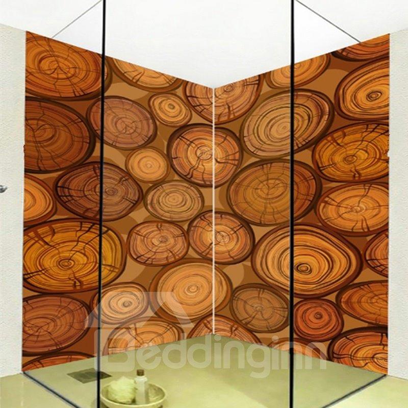 Amusing Natural Tree Rings Pattern Waterproof 3D Bathroom Wall Murals
