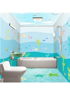 Cute Cartoon Fishes Pattern Waterproof 3D Bathroom Wall Murals