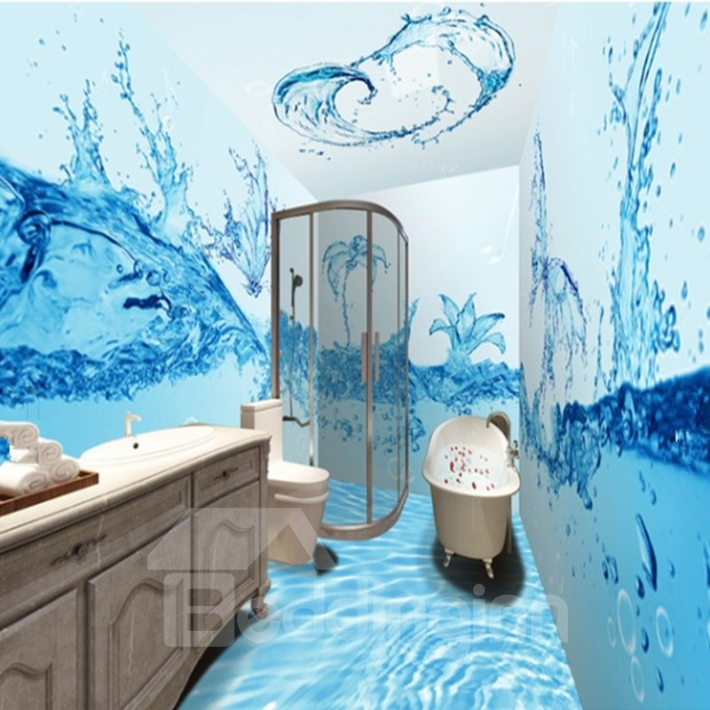 Creative Fresh Blue Water Flowers Pattern Waterproof 3d