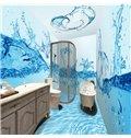 Creative Fresh Blue Water Flowers Pattern Waterproof 3D Bathroom Wall Murals