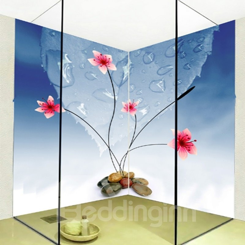 Simple Style Flowers and Water Drops Pattern Waterproof 3D Bathroom Wall Murals