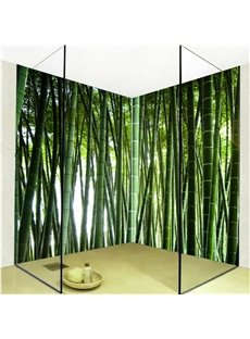 Natural Green Bamboo Forest Pattern Waterproof 3D Bathroom Wall Murals