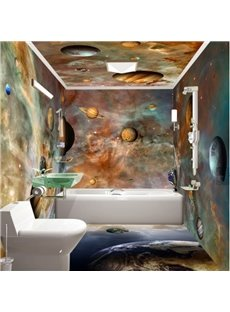Dreamy Modern Design Planets Pattern Waterproof 3D Bathroom Wall Murals