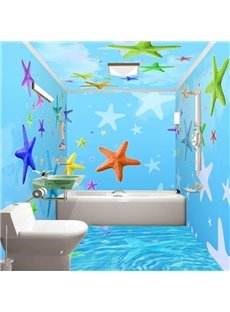 Sky Blue Simple Style Colorful Sea Starfish Pattern Waterproof 3D Bathroom Wall Murals