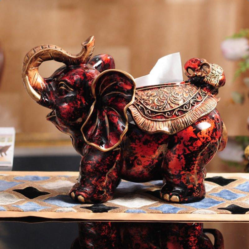 Red Classic European Style Resin Elephant Shape Design Desktop Tissue Box
