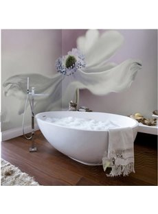 Fresh White Flower Pattern Waterproof 3D Bathroom Wall Murals