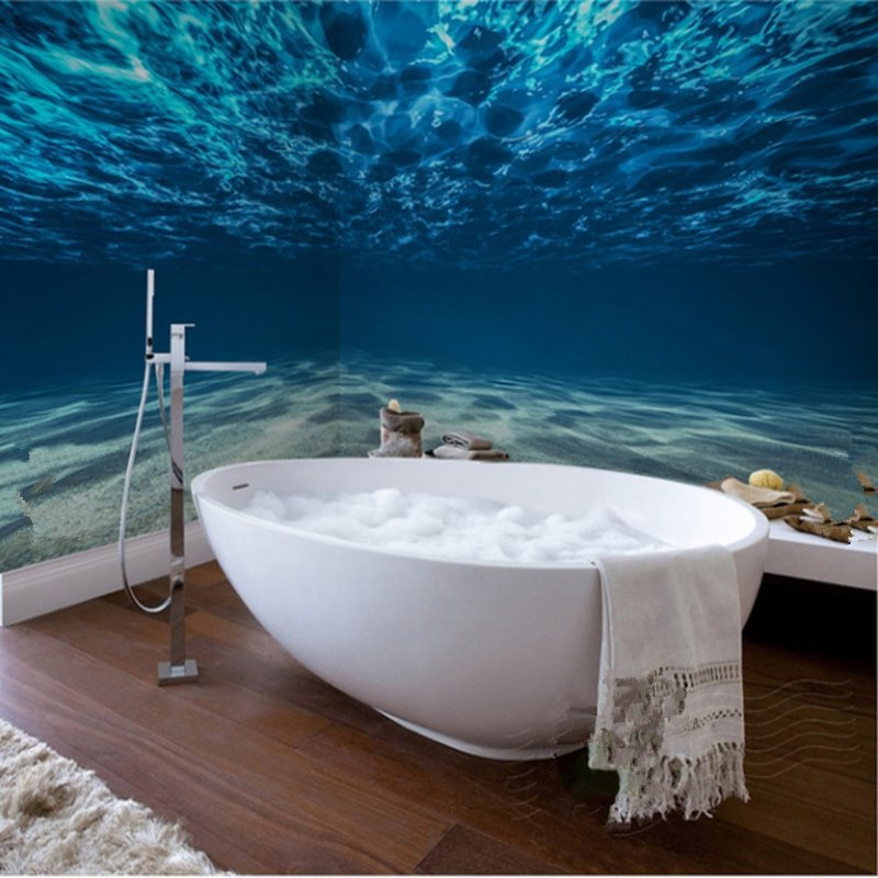 66 Blue Ocean Pattern Waterproof Sy Dampproof Eco Friendly Bathroom Wall Murals