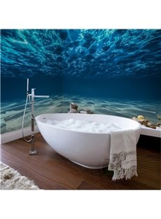Charming Blue Ocean Pattern Waterproof 3D Bathroom Wall Murals