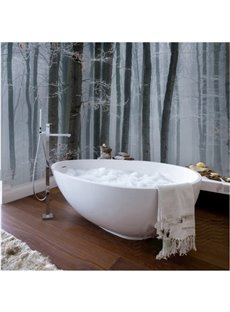 Simple White and Black Trees Pattern Waterproof 3D Bathroom Wall Murals