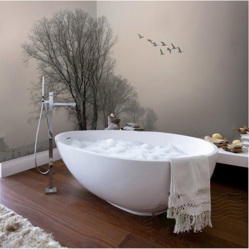 Flying Birds and Tree Pattern Decorative Splicing Waterproof 3D Bathroom Wall Murals