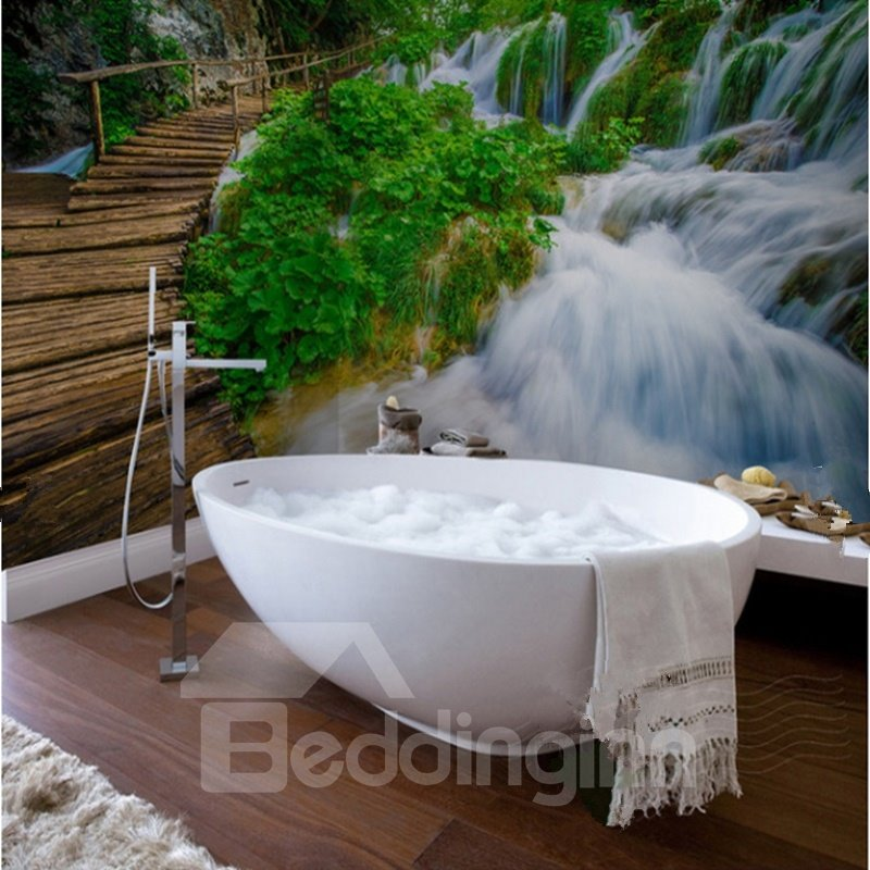 Amazing Bridge Over the Waterfall Scenery Waterproof 3D Bathroom Wall Murals