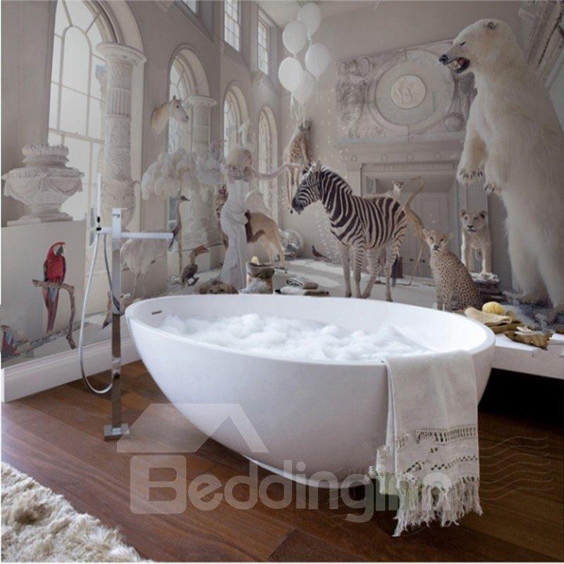 White Vivid Animal in the Palace Waterproof 3D Bathroom Wall Murals