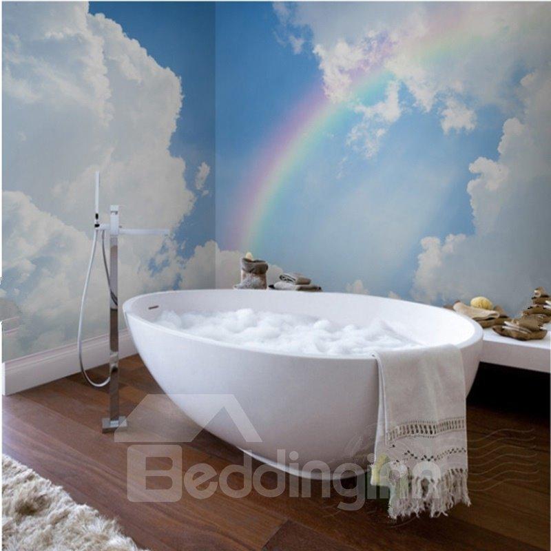 White Cloud and Beautiful Rainbow Pattern Waterproof 3D Bathroom Wall Murals