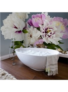 White and Purple Beautiful Peony Design Waterproof 3D Bathroom Wall Murals