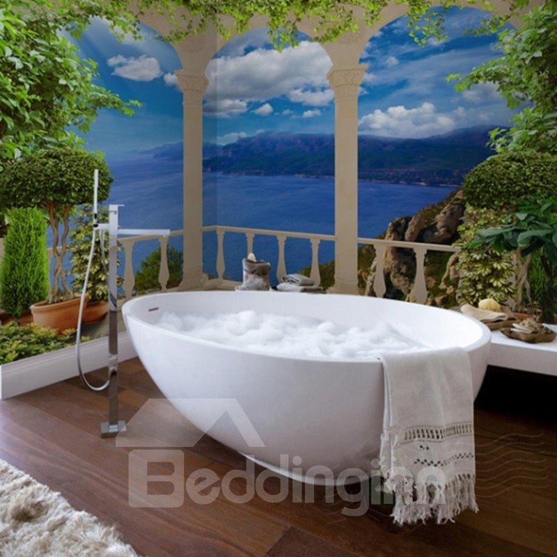 Blue Sea Scenery Pattern Simple Style Waterproof 3D Bathroom Wall Murals