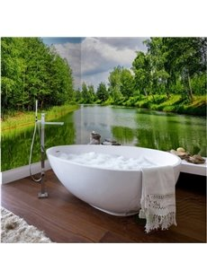 Dark Green Natural River Scenery Waterproof 3D Bathroom Wall Murals