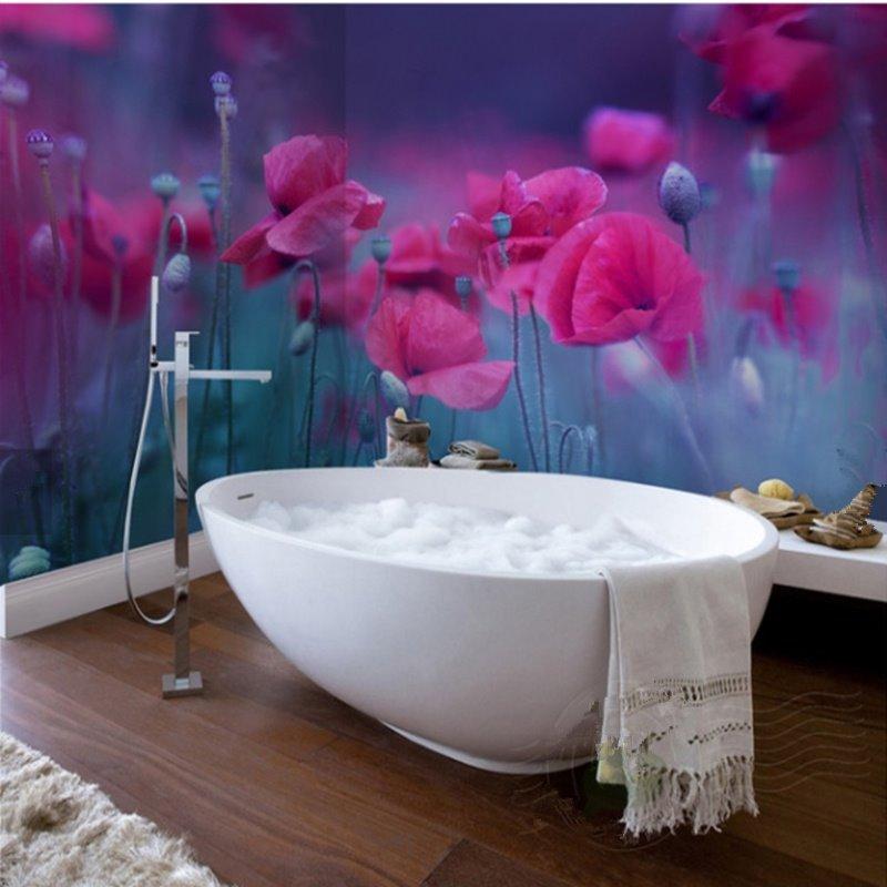 Rose Red Flowers Pattern Design Waterproof 3D Bathroom Wall Murals