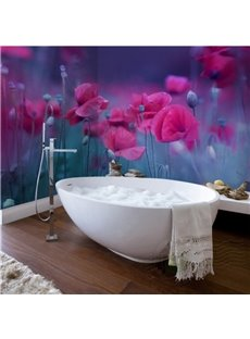 Rose Red Flowers Pattern Design Waterproof 3D Bathroom Wall Murals