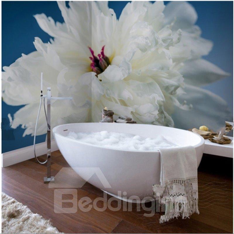 White Paeonia 3D Waterproof Bathroom Wall Murals