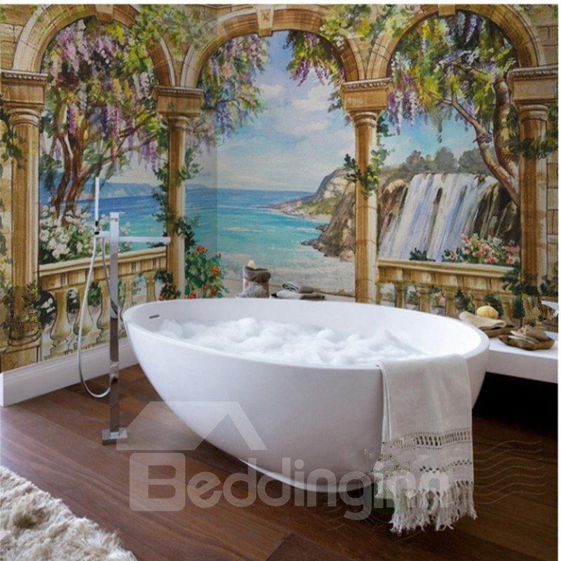 Wonderful Natural Seaside Scenery Pattern Waterproof 3D Bathroom 3D Wall Murals
