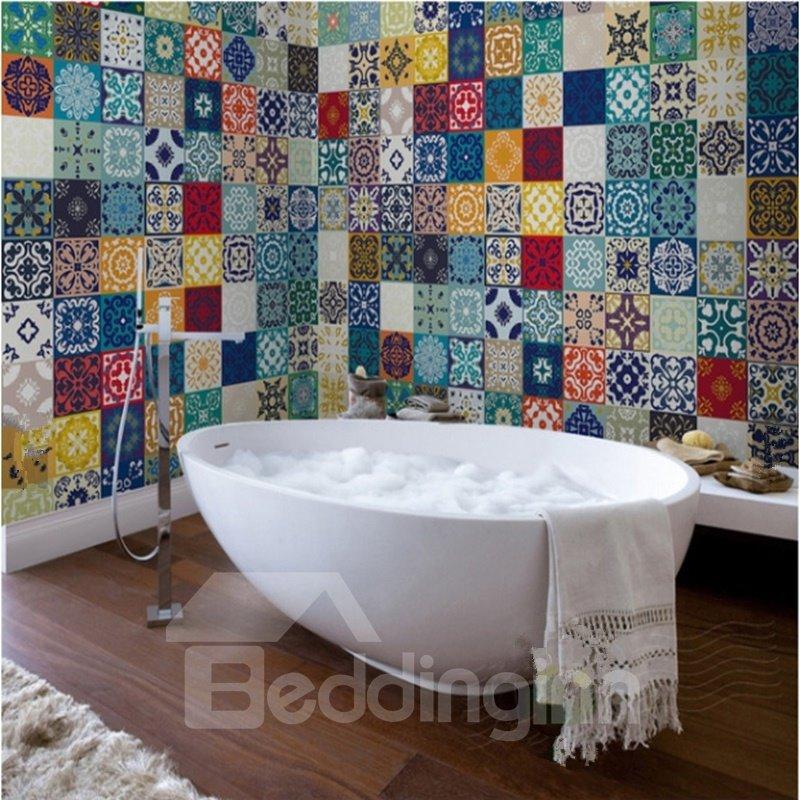 Multitudinous Creative Square Flower Plaid Pattern Waterproof 3D Bathroom Wall Murals