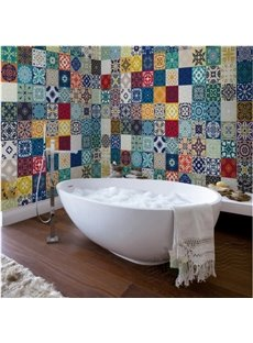 Multitudinous Creative Square Flower Plaid Pattern Waterproof 3D Bathroom Wall Murals